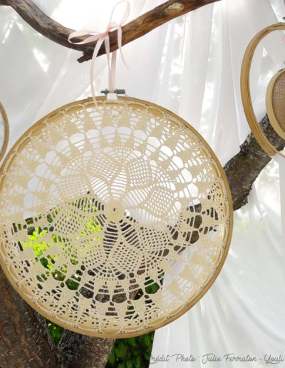 Tambour crochet - tulle - jute - rubans