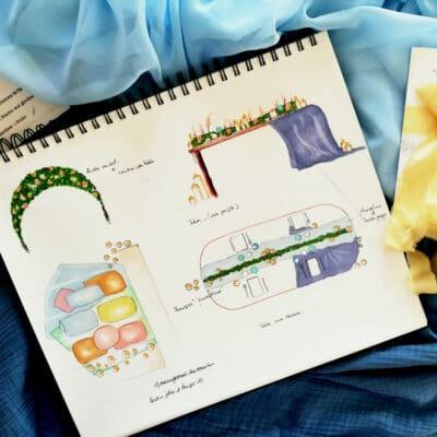 Dessin cénographique wedding designer