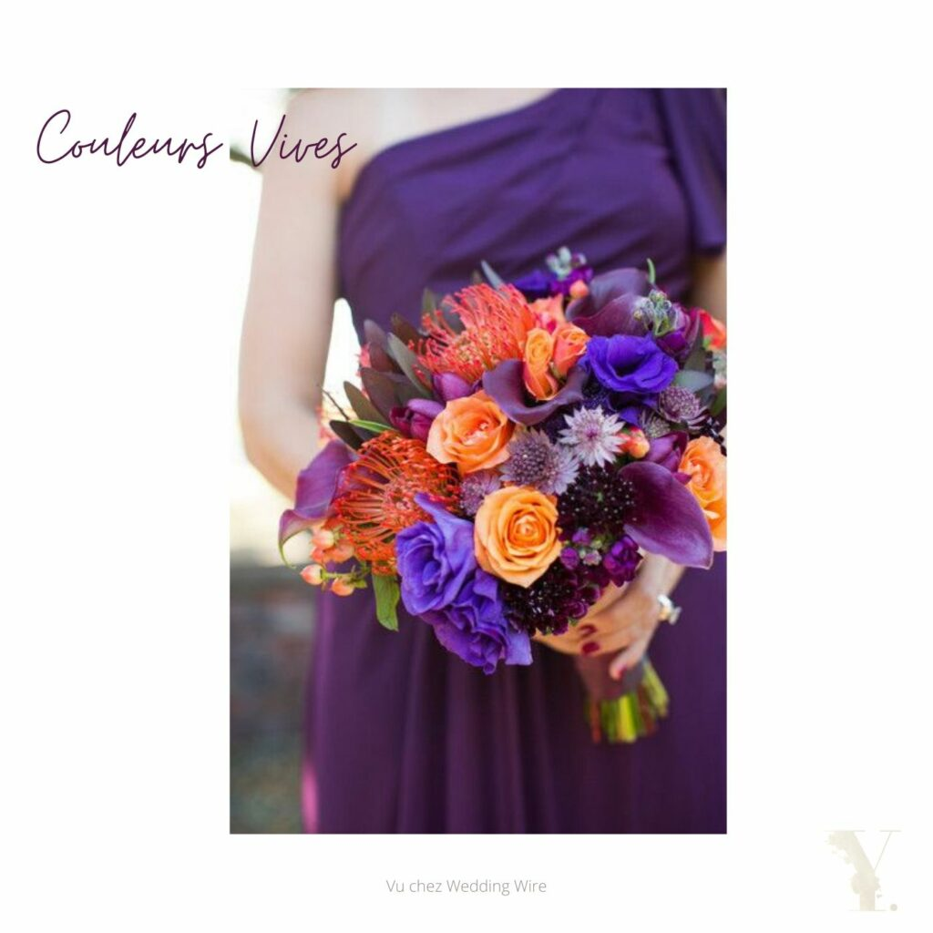 Bouquet de mariage couleurs vives