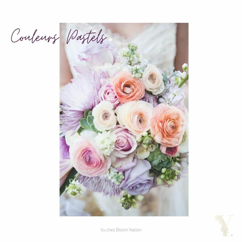 Bouquet de mariage couleurs pastels