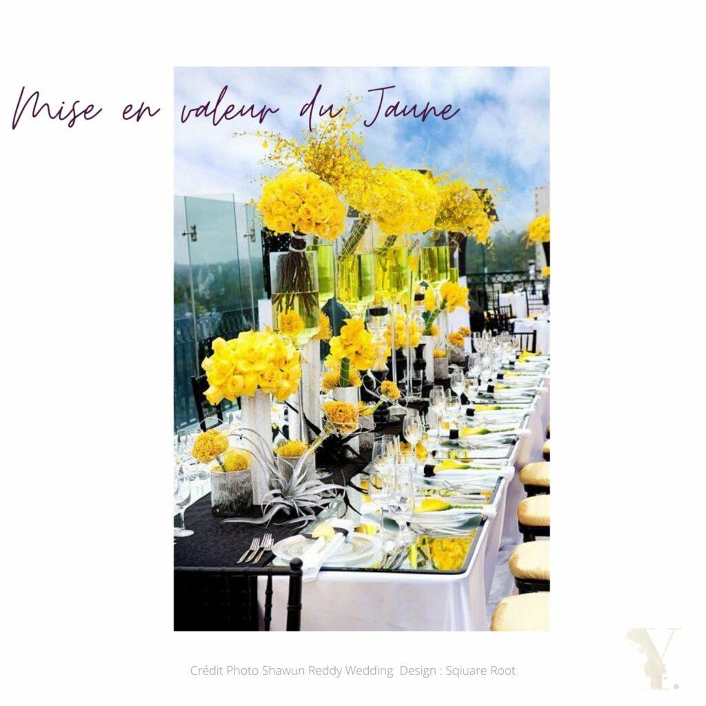 mise en valeur du jaune couleurs mariage