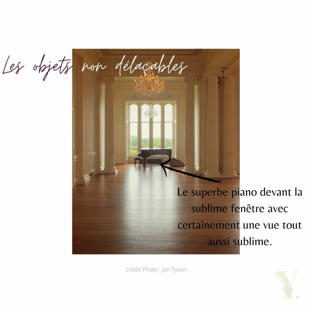 Le piano et autres objets non déplaçables. Second point d'une scénographie de mariage réussie.