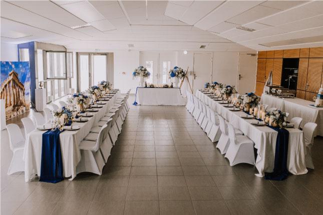agencement salle mariage thème Grèce