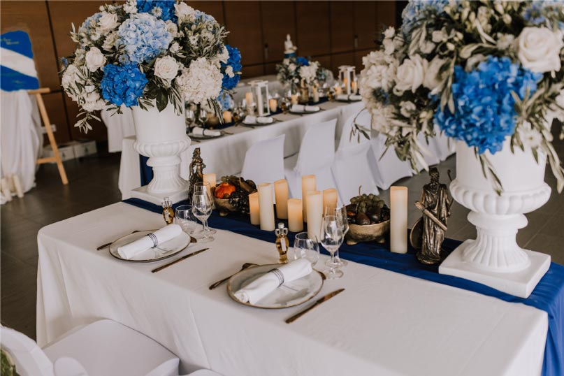 art de table thème mariage bleu blanc