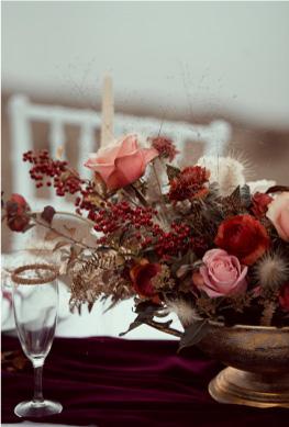 composition florale table mariage automne