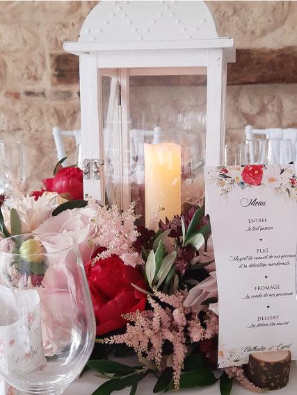 décoration centre table ronde mariage