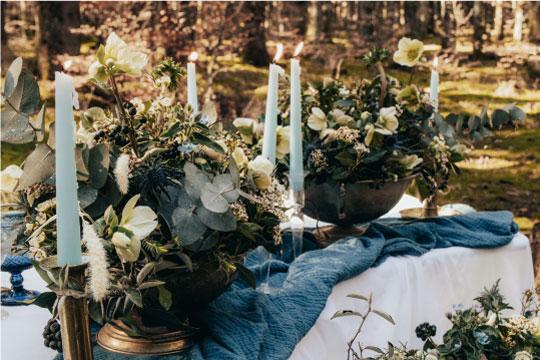 décoration table mariage bleu et doré