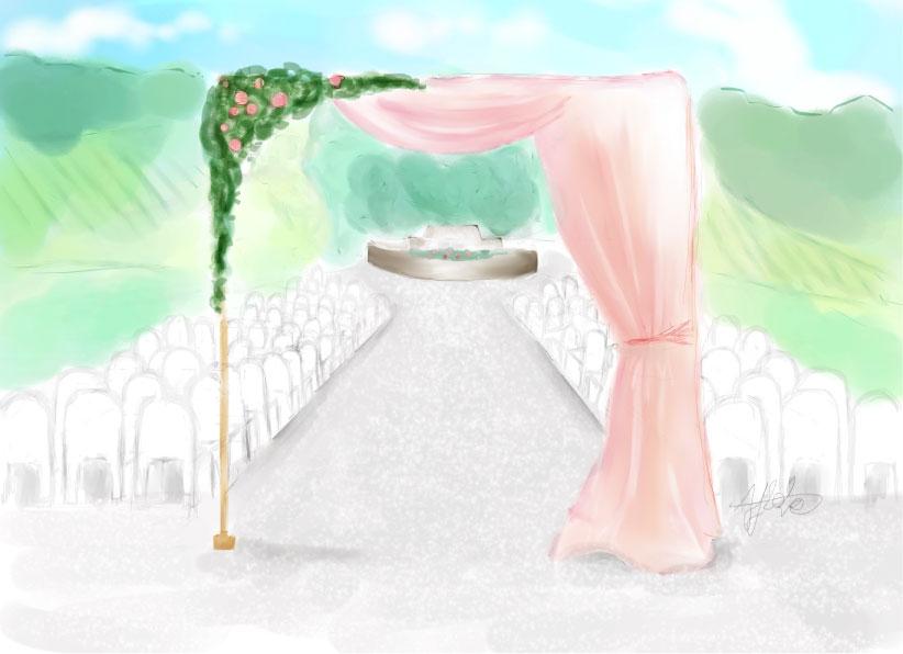 dessin scénographie cérémonie laïque beaujolais