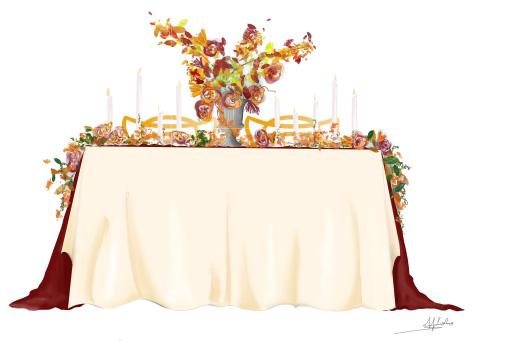 dessin scénographie mariage couleurs automne