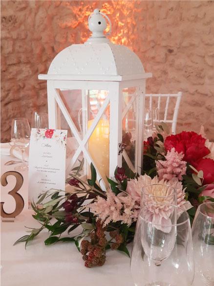 lampe centre de table mariage