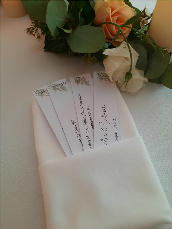 menu table mariage Rhône