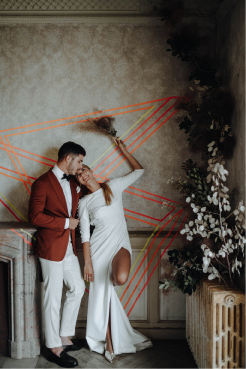 photo couple mariés tenues sophistiquées