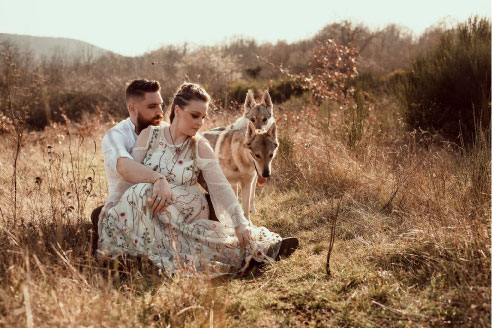 shooting mariage couple loup