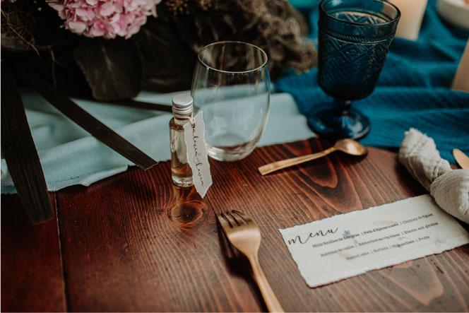 art de la table mariage bleu