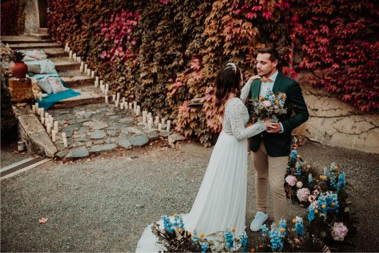 décoration florale mariage bleu