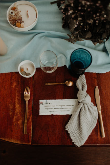 décoration de table mariage bleu