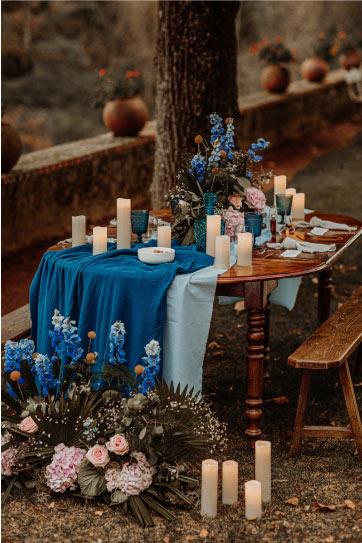 décoration table mariés bleu