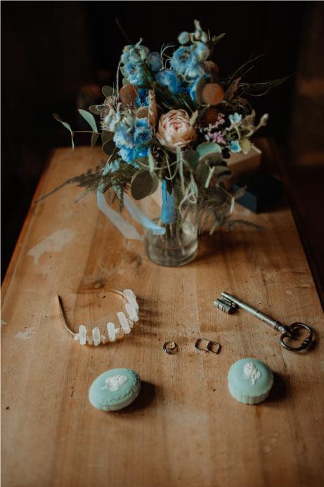 éléments scénographie wedding design bleu